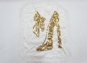 Great value Heel & Bow Sequin Motif- White/Gold available to order online New Zealand