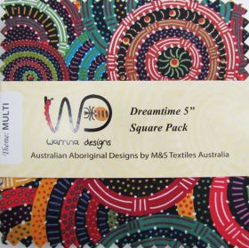Great value Dreamtime 5 inch Square Charm Pack- Multi Colour Theme available to order online New Zealand
