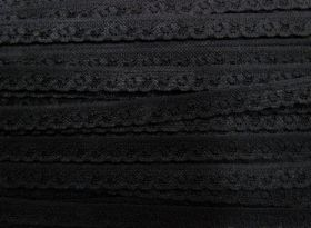 Great value 12mm Itsy Bitsy Stretch Lace Trim- Black #245 available to order online New Zealand