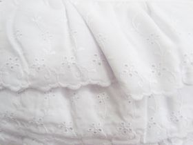 Great value 11cm Flower Garland Frill Broderie Anglaise Trim- White #251 available to order online New Zealand