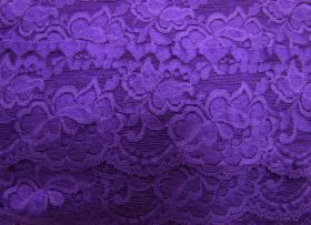 Great value 85mm Giselle Stretch Floral Lace Trim- Purple #259 available to order online New Zealand