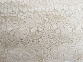 Great value 85mm Giselle Stretch Floral Lace Trim- Pearl Beige #263 available to order online New Zealand
