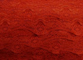 Great value 40mm Wave Edge Stretch Floral Lace Trim- Red #277 available to order online New Zealand