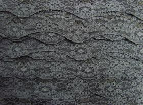 Great value 40mm Wave Edge Stretch Floral Lace Trim- Grey #276 available to order online New Zealand