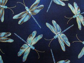 Great value Moonlight Serenade Cotton- Moonlit Dragonflies- Indigo available to order online New Zealand