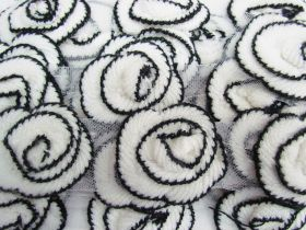 Great value Knitted Rosette Trim- Black / Cream #532 available to order online New Zealand