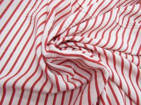Great value Red Hot Stripe Viscose Blend Twill #5504 available to order online New Zealand