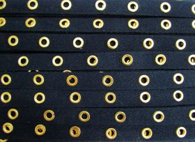 Great value 16mm Cotton Eyelet Tape- Navy/Gold #436 available to order online New Zealand