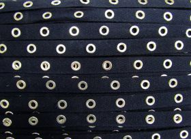 Great value 16mm Cotton Eyelet Tape- Navy / Silver #437 available to order online New Zealand