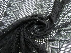 Great value Crochet Stripe Cotton Mesh- Black #5681 available to order online New Zealand