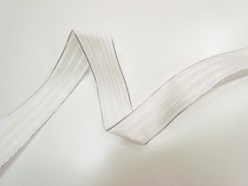 Great value 38mm Royal Taffeta Wide Stripe Ribbon- White/Candlelight available to order online New Zealand