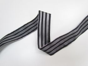 Great value 38mm Royal Taffeta Wide Stripe Ribbon- Black/Silver available to order online New Zealand