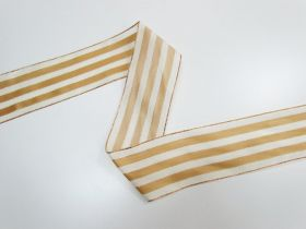 Great value 63mm Royal Taffeta Wide Stripe Ribbon- Ivory/Gold available to order online New Zealand