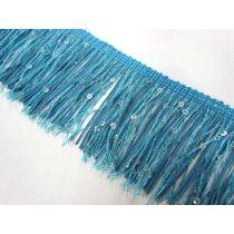 Sequin Fringe Trim- Turquoise