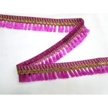 Gold Embroidered Tassel Trim- Magenta