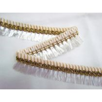 Gold Embroidered Tassel Trim- White