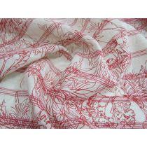 Vintage Native Flower Linen- red
