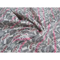 Fossil Cotton Blend Brocade Suiting- Fluro Pink