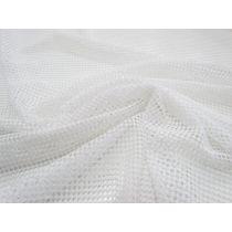 2way Stretch Checkerboard Mesh- Bright White