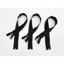 Zip Bundle- BLACK- Luxe Lucite Zipper Pull- 50cm Open End Zips- 3 for $5