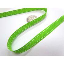 Stitch Ribbon 10mm- Lime / White