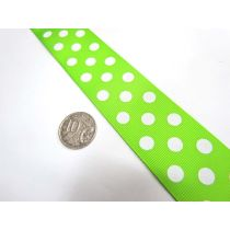 Spots Ribbon 38mm- Lime Green