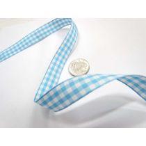 Gingham Ribbon 15mm- Baby Blue