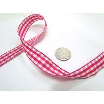 Gingham Ribbon 15mm- Dark Pink