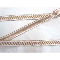 Candy Stripe Jacquard Webbing Tape- Toffee