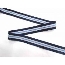39mm Boater Stripe Webbing- Navy/Blue