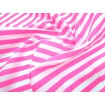Stripe Poplin- Fluro Pink & White