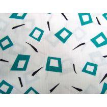 Retro Diamonds Cotton- Teal