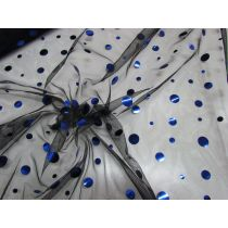 Jumbo Sequins on Net- Royal/Black