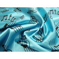 Music Notes Satin- Aqua