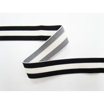 30mm Thick Triple Stripe Elastic- Black/Cream