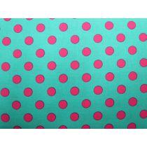 Colour Basic Big Spot Cotton- Pink on Aqua