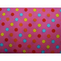 Colour Basic Big Spot Cotton- Multi on Hot Pink