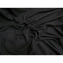 Light Soft Drape Mini Rib Jersey- Black