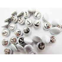 2 for $1.00 Fabric Covered Fashion Buttons- Silver Satin FB087