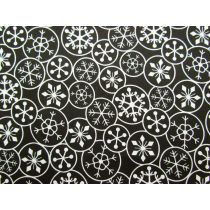 Festive Snowflake Cotton- Cream on Black