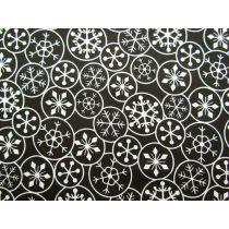 Festive Snowflake Cotton- Cream on Black