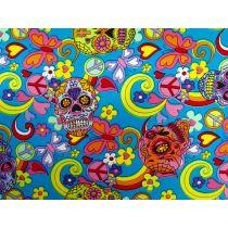 Candy Skulls Cotton- Blue