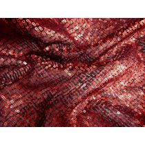 Waterfall Embroidered Sequin Mesh- Red