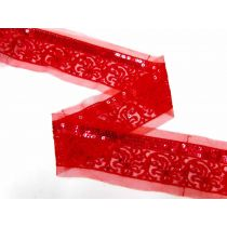 Dancing Flower Sequin on Mesh Trim- Red
