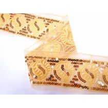Sequined Seed Mesh Trim- Honey Gold