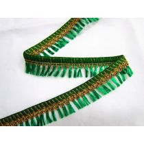 Gold Embroidered Tassel Trim- Emerald
