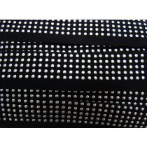 Embossed Stud Elastic- Silver on Black