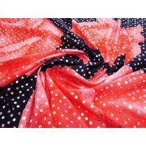 Biggest Blooms Holographic Sequin Spandex- Coral