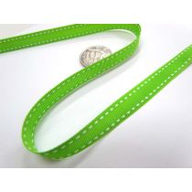 Stitch Ribbon 10mm- Lime / White