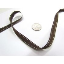 Stitch Ribbon 10mm- Brown / White